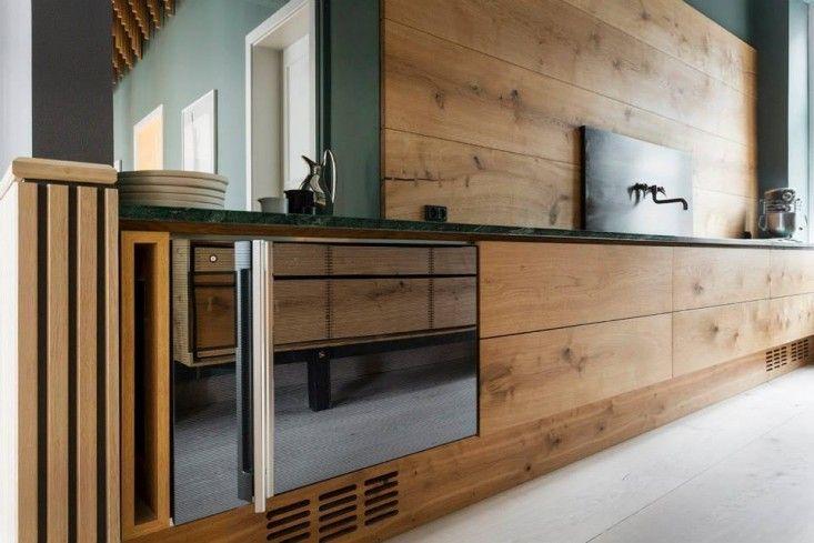 Electrolux Grande Cuiine refrigerator and other appliances in the kitchen by Garde Hvalsoe in the Dinesen showroom in Sotorvet, Copenhagen | Remodelista