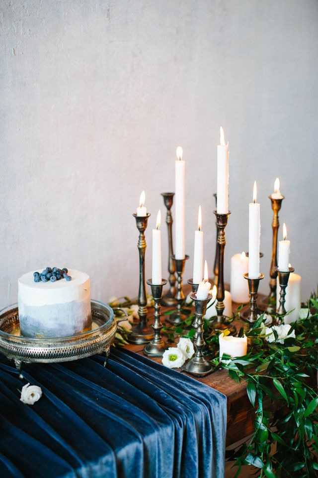 indigo velvet tablecloth brass candlesticks