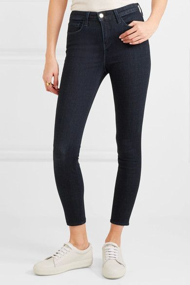 L'Agence - The Margot Cropped High-rise Skinny Jeans - Dark denim - 24