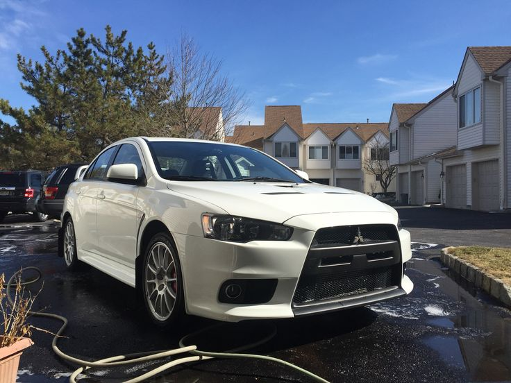 wicked white mitsubishi evo x gsr just washed and feeling good