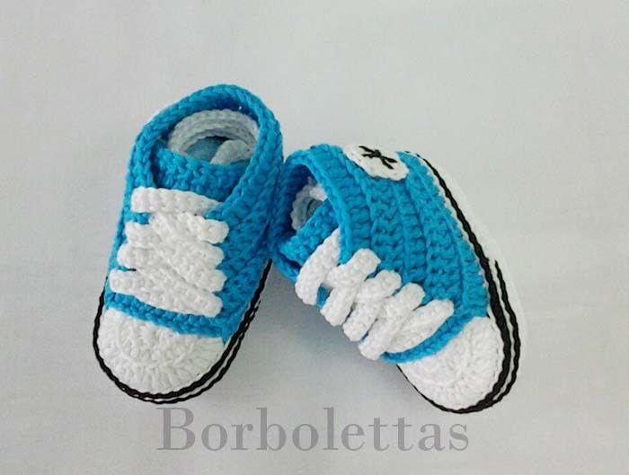 Mini Converse Azul Turquesa de Borbolettas por DaWanda.com