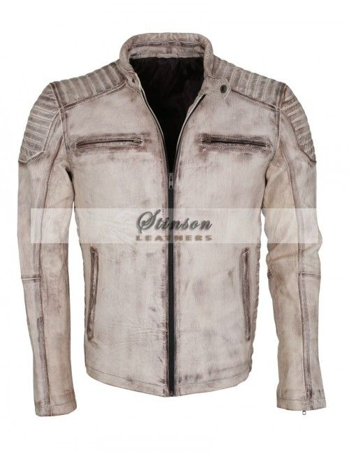 Men Vintage Waxed MotorBike Leather Jacket For Sale Free Shipping Worldwide