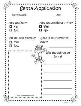 Santa & Mrs. Claus Applications - kindergarten writing