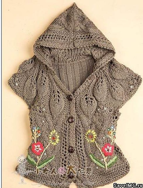 Ravelry: vest with hood and embroidery by Nishka