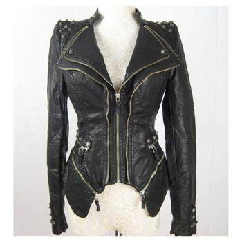 Las Nuevas Mujeres del Punk Pico tachonado de hombro de la PU de la chaqueta de cuero de la cremallera Escudo Talla XL s