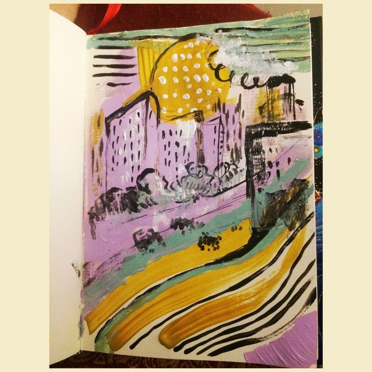 """Набросочек """"дорога домой"""" #art #sketch #sketchbook #acril #mj #marinushkinaaart #landscape #urban"""