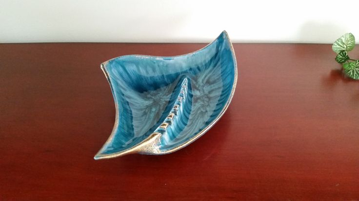 Beautiful 60s era California Originals pottery blue gold swirl amorphous ashtray by TheHouseofHelga on Etsy
