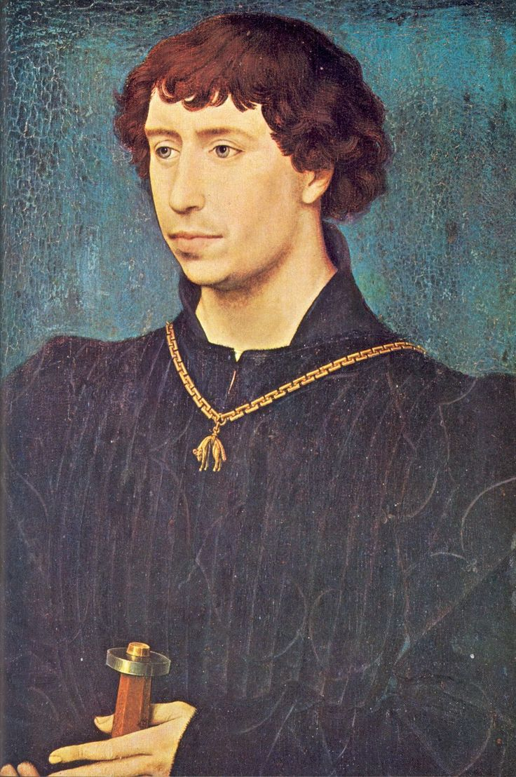 Rogier van der Weyden (Belgium, 1400-1464) ~ Charles the Bold of Burgundy (France, 1433-1477) ~ ca.1460 (about 27 years old) ~ Gemäldegalerie, Berlin ~ Rogier van der Weyden or Roger de la Pasture was an Early Netherlandish painter. His paintings were exported – or taken – to Italy and Spain, and he received commissions from nobility and foreign princes. Charles the Bold, baptized Charles Martin, was Duke of Burgundy from 1467 to 1477. He was the last Valois Duke of Burgundy.