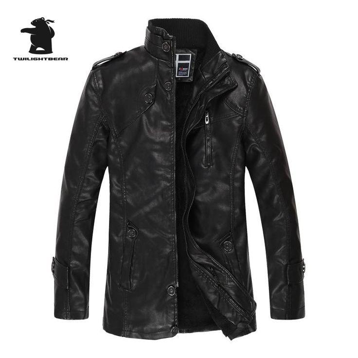 2016 Winter New Men's Leather Jacket Long Washed Fleece Leather Biker Jacket Plus Size Fashion Casual Leather Coats For Men E8F7