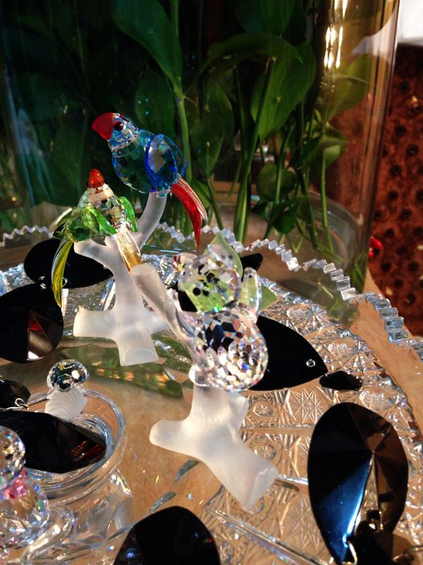 Parrot Family Crystal Figurine