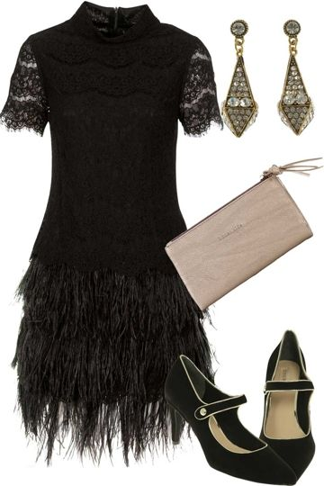 A great, Great Gatsby inspired outfit!  Channel the decadence of the roaring twenties in this extraordinary Martini dress. Show off your finest plumage with feathers, lace and a touch of class. Love, Andrea and the birdsnest girls x