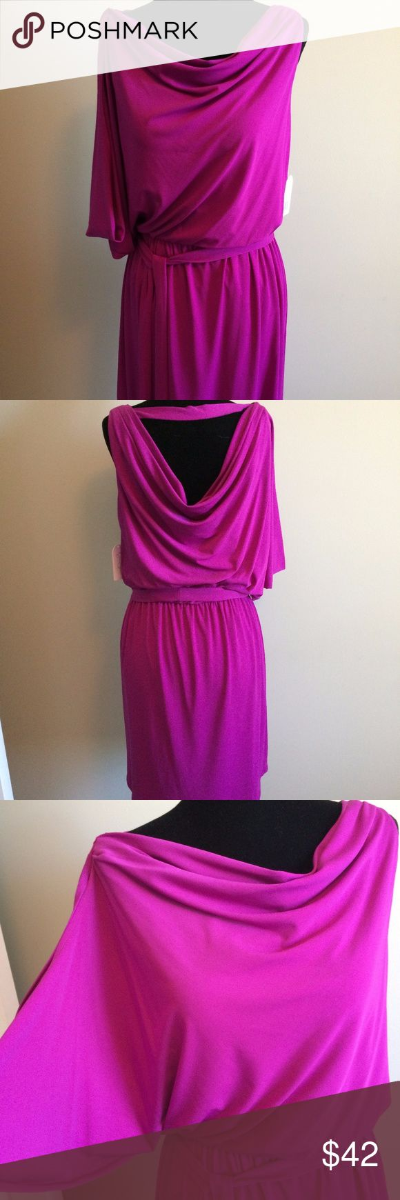 NEW!Jessica Simpson Hot Pink cocktail dress size 6 New! Jessica Simpson Hot Pink cocktail dress size 6. Asymmetrical sleeves with sash belt, jersey material. Gorgeous color and funky style! Great for weddings, going out or other dress up occasions. Jessica Simpson Dresses Asymmetrical