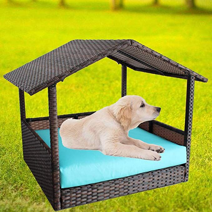 Amazon Com Rattan Pet Home Outdoor Patio Dog House Day Bed W Roof