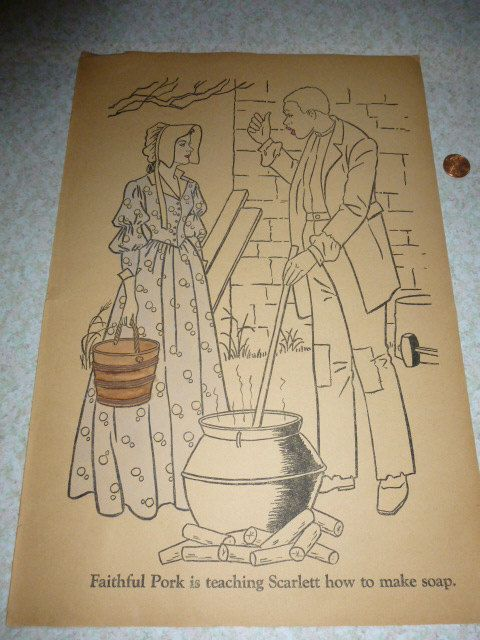 Page From A Rare 1940 Gone With The Wind Coloring By