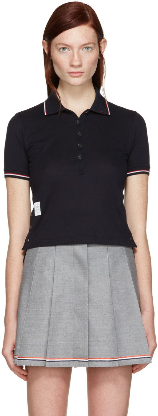 THOM BROWNE Navy Short Sleeve Polo. #thombrowne #cloth #polo