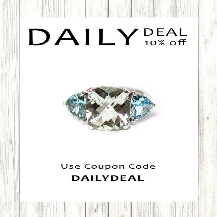 Our Daily Deal Flash Sale is back with -10% off this multi stone prasiolite green amethyst aquamarine solid 14k white gold set ring. Use coupon code: DAILYDEAL10.Buy them via the website here:https://shop.sarahhughes.net/products/prasiolite-cushion-cut-and-aquamarine-trillion-14k-white-gold-ring-size-7-ready-to-ship-