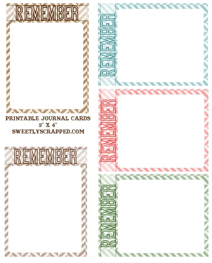 "Free Printable ""Remember"" Journal Cards: Printables Remember, Journals Cards, Journals Ideas, Scrapbook Recipe, Sweets Scrap, Projects Life, Free Journals, Journal Cards, Free Printables"
