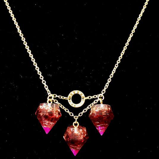 ミニミニダイヤ型オルゴナイト ガーネットネックレス