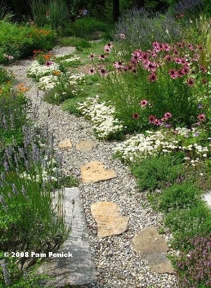 Gravel and stone garden path the garden gate pinterest for Smooth stones for landscaping