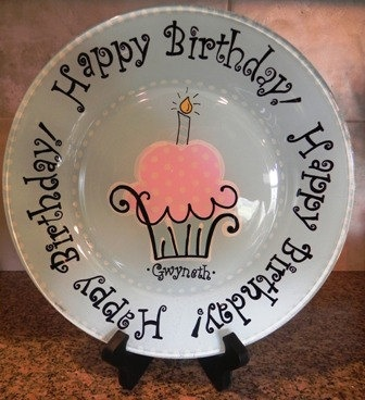 Happy Birthday Plate  Made to Order by SassyPeasDesigns on Etsy, $25.00