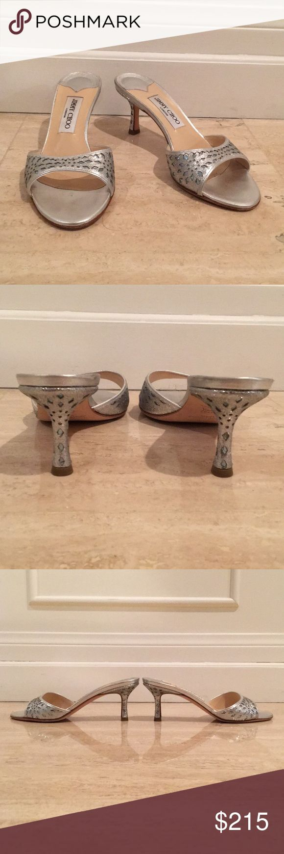JIMMY CHOO Jeweled Silver Kitten Heels Barely worn JIMMY CHOO Jeweled Silver Kitten Heel Sandals. So much detail.   Does not come with box Jimmy Choo Shoes Sandals