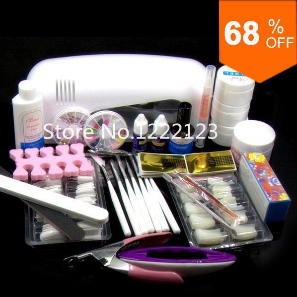 Pro Nail Art Gel UV Kits ferramenta lâmpada UV escova Remover pontas das unhas cola acrílica #12set em Assentos & conjuntos de Health & Beauty no AliExpress.com | Alibaba Group