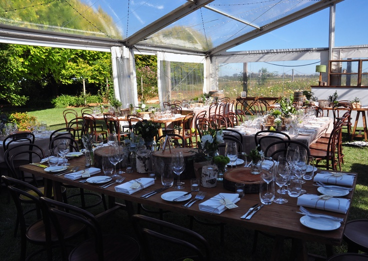 A function in a marquee near the Rose Garden at All Saints Estate