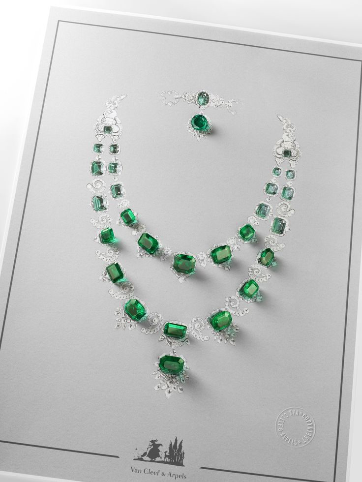 peauane-foret-collieremeraudemajeste-dessin-hd White gold, round, square-cut, baguette-cut, half-moon cut and pear-shaped diamonds, platinum, 29 round, oval-cut and emerald-cut emeralds for a total of 195.11 carats (origin: Colombia). Necklace sketch. Van Cleef and Arpels