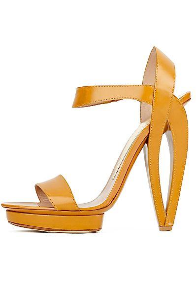 Armani. Mustard statement sandal heel. | luxuryshoeclub.com