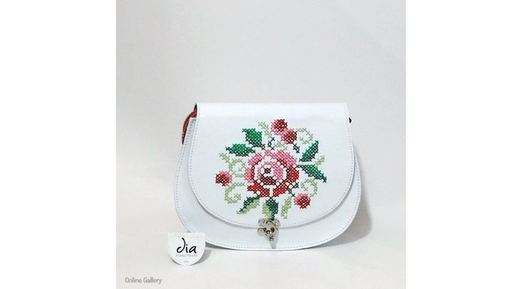 Geantă din piele albă cu cusături tradiționale