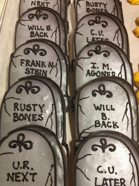 Tombstone cookies by BennysBakeryCakes, via Flickr  Yes, we ship cookies!  www.bennysbakerycakes.com