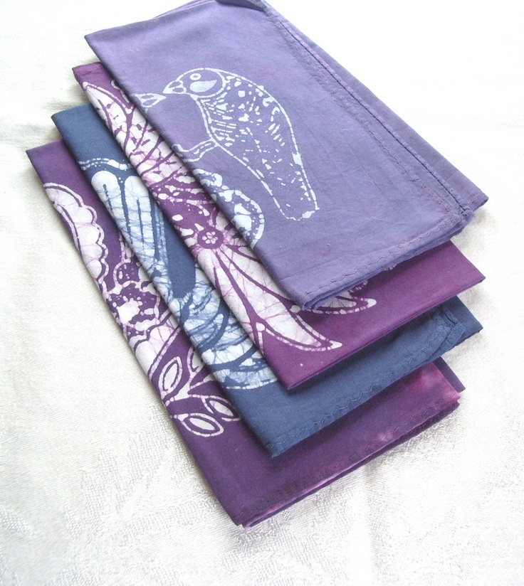 I love margotbianca's batiks. Every piece is beautiful. I love this purple palette eclectic napkin set. . $32.00, via Etsy.