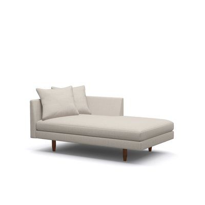 "BenchMade Modern Crowd Pleaser Chaise Size: 36"" x 31 ""x 63"", Body Fabric: Graham Burlap, Leg Finish: Walnut, Sectional Orientation: Left Facing"