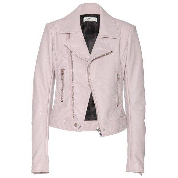 Balenciaga Leather Biker Jacket (2,485 CAD) ❤ liked on Polyvore featuring outerwear, jackets, balenciaga, leather jackets, moto jacket, 100 leather jacket, real leather jacket and pink motorcycle jacket