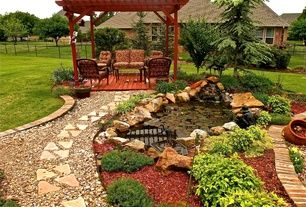 Traditional Landscape/Yard with exterior stone floors, Pathway, Fence, Pond, 5 cu. yd. Red Landscape Loose Bulk Mulch