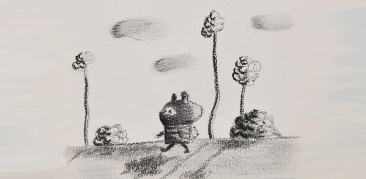 Blinky voyage à pied, un petit dessin au fusain