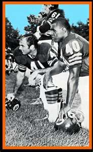 Gale Sayers and Brian Piccolo...awesome picture.breaking barriers.