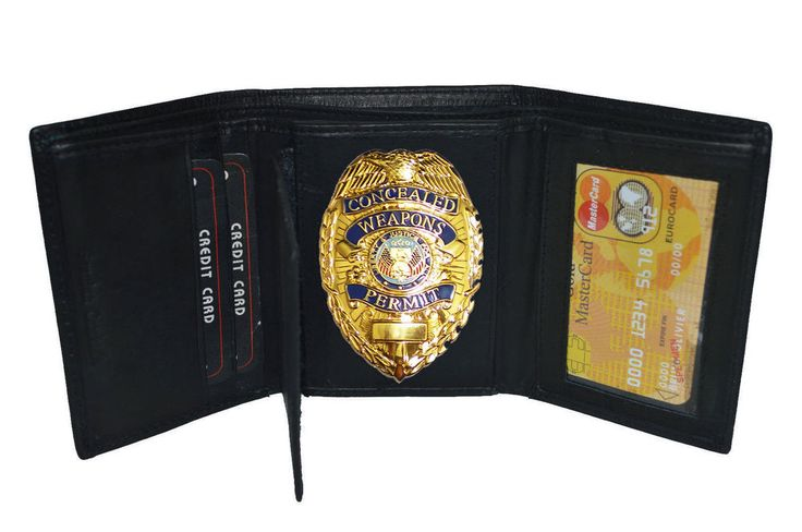 TRI FOLD LEATHER  GOLD CONCEALED CARRY BADGE WALLET #Unbranded