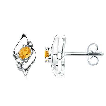 Angara Prong Set Citrine Stud Earrings in Platinum x4oErt