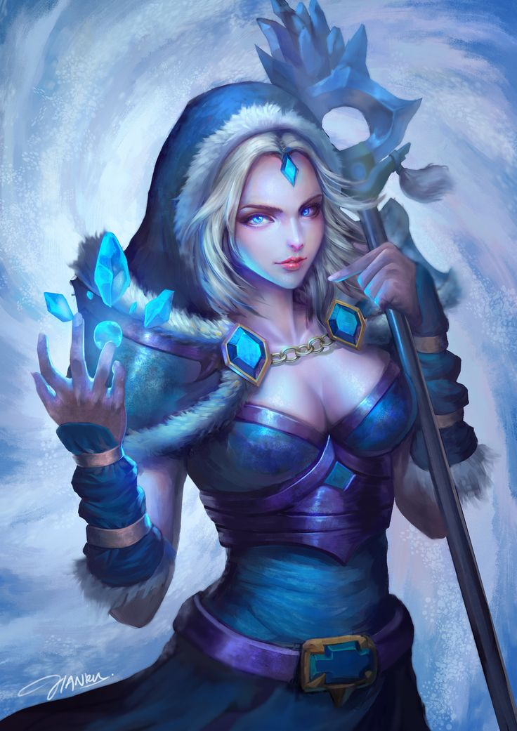 dota2 crystal maiden fanart, Jianru Tam on ArtStation at https://www.artstation.com/artwork/eVQA6