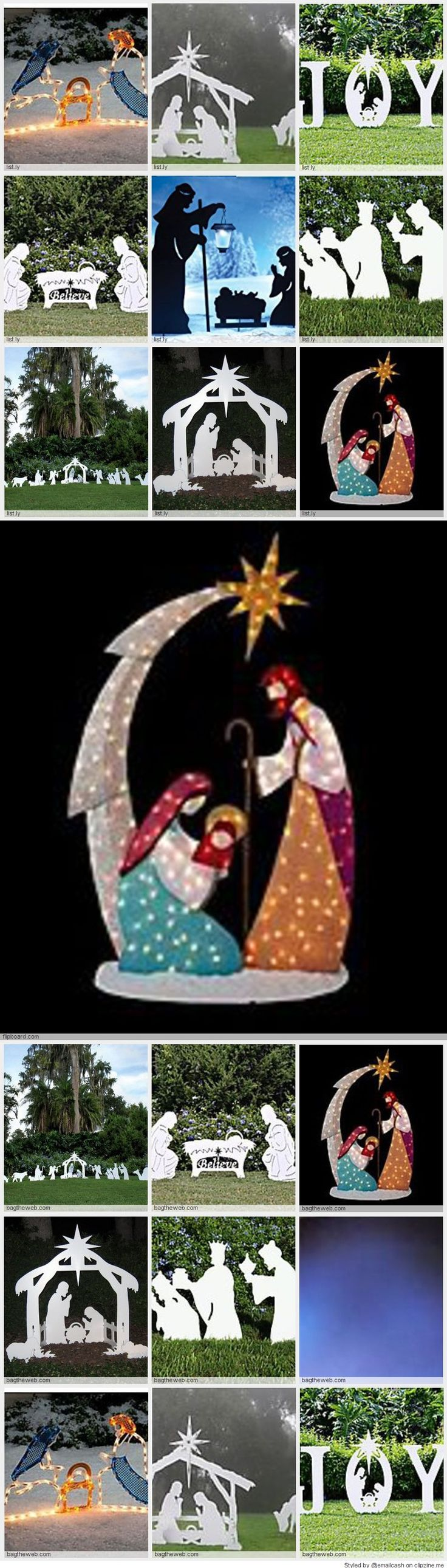 Nativity Silhouette Yard Decoration - Some lighted outdoor nativity scenes are very large so make sure that you get one that fits well in you yard and looks good with your house and lawn. Most are easy to assemble and break down for easy storage once Christmas is over.