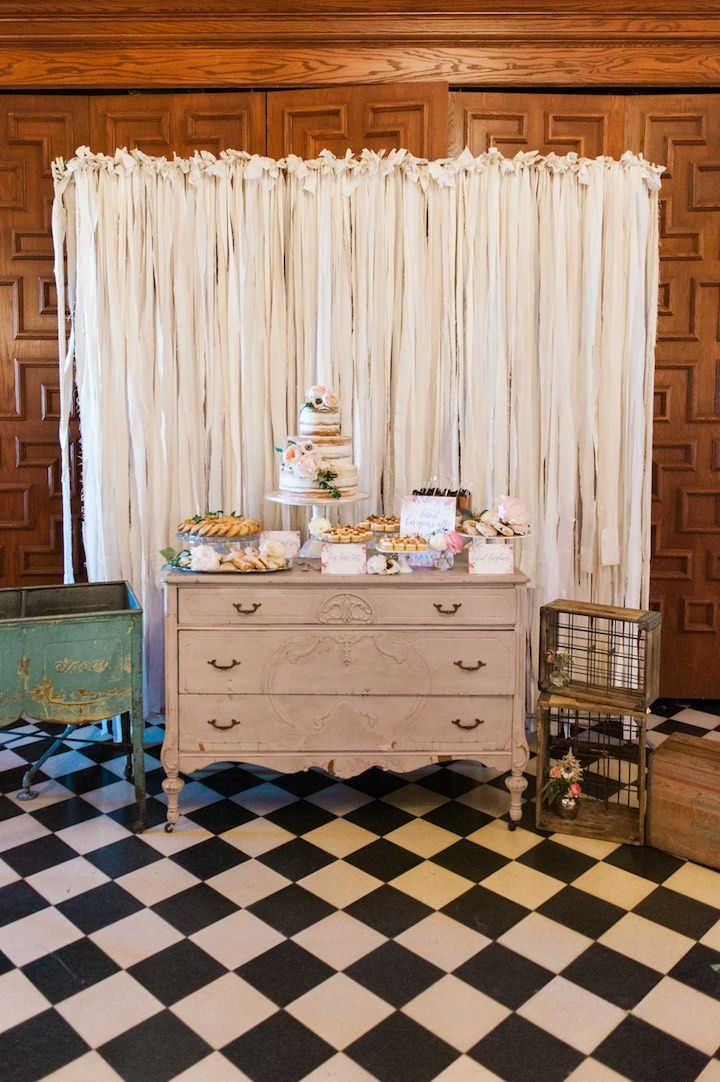 rustic chic wedding cake table; Shea Christine Photography