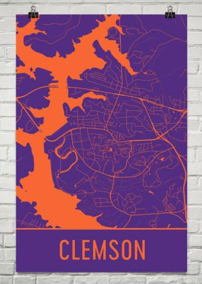 Check out these cool city of Clemson maps from Modern Map Art. Click the image to see how we turned this into an easy DIY push pin map to make it more personal.