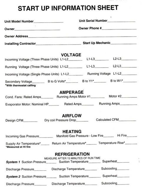 Hvac Start Up Sheets Thread Hvac R Preventive Maint