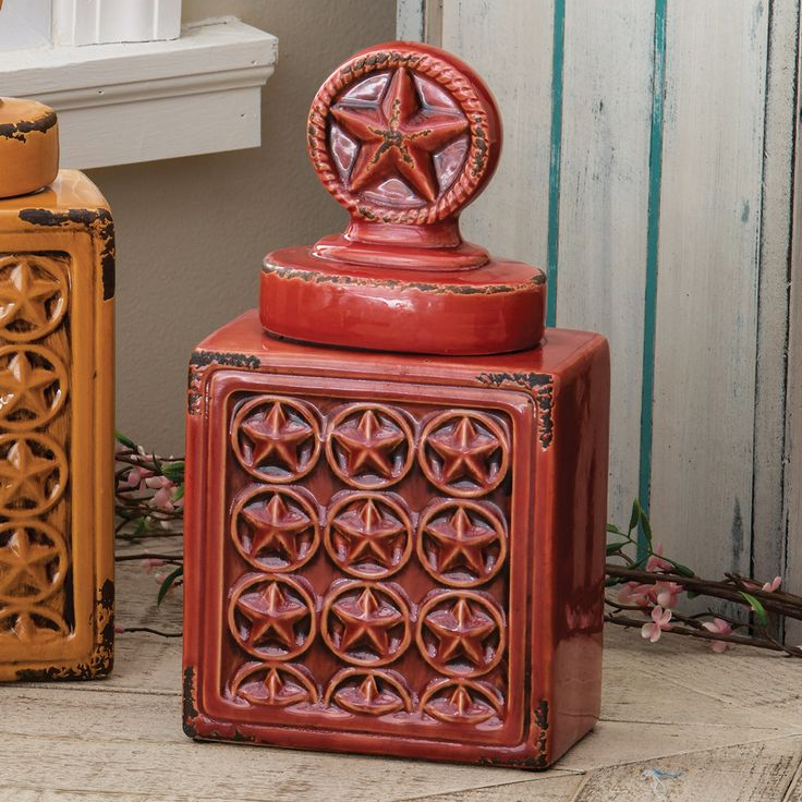 Western Star Ceramic Canister   Red