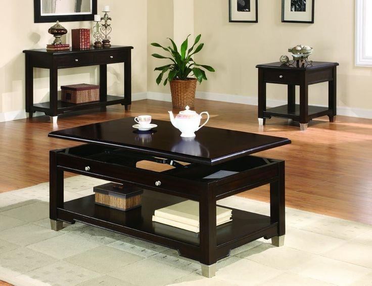 Transitional Oak Coffee Table Set