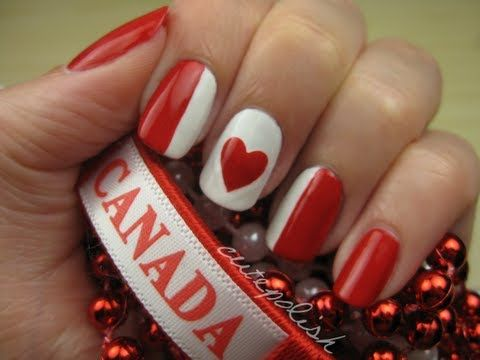 Canada Day Nails. this would be sooo cute in other colors! :) or for valentine's day!