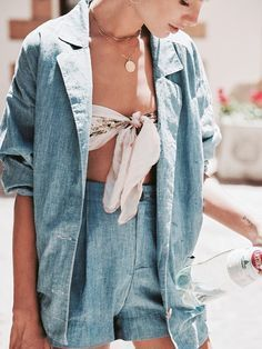 denim suit and crop top for summer outfit inspiration