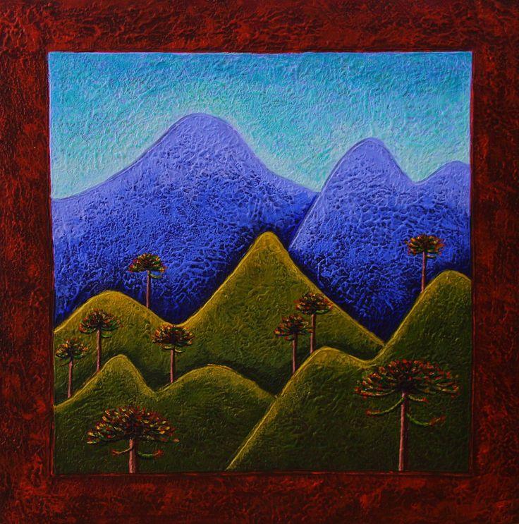 Pehuén by Daniel Ponce. Araucarias, pewen, sur de Chile. Acrílico sobre madera. #danielponce #trazosdesol