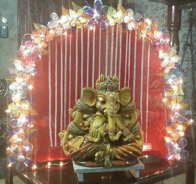 1000 images about ganapati deity decoration on for Artificial flower decoration for ganpati